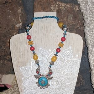 """Bohemian Beaded """"Turquoise"""" Necklace"""